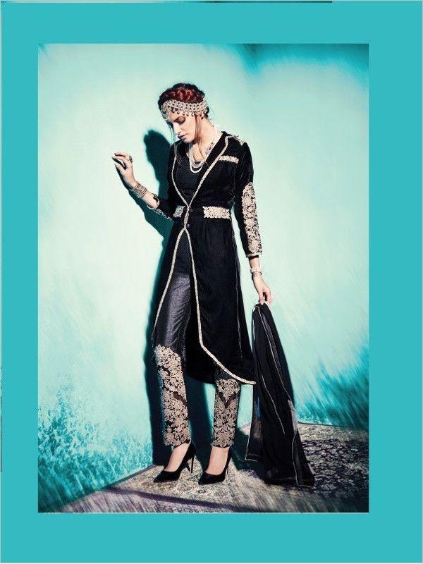 Black Party Wear Velvet Suit