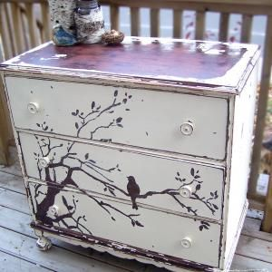 Thrift store furniture, paint and a stencil. love! Best ideas for remaking