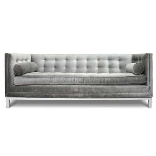 Charcoal sofa with tufting.  FAB!