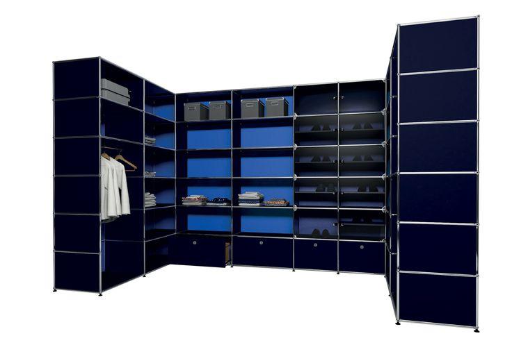 usm modular furniture wardrobe blue dark blue meuble usm haller dressing bleu bleu acier. Black Bedroom Furniture Sets. Home Design Ideas