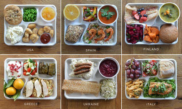 Schoolchildren in Spain, Ukraine, Greece, South Korea, Brazil, France, Finland and Italy eat a remarkable array of fresh foods for lunch, unlike the UK and US trays, which are full of processed items.
