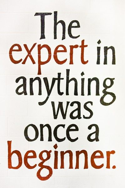 Experts in anything was once a beginner. What a great quote.