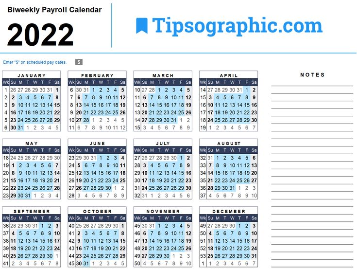 2022 Biweekly Calendar.I Just Downloaded A Simple Free 2022 Biweekly Payroll Calendar For Excel From Tipsographic Com In 2021 Payroll Calendar Payroll Payroll Template