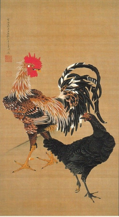 動植綵絵-07-大鶏雌雄図(たいけいしゆうず)