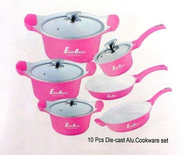 Kochtopf Set 10 tlg. in Pink Induktion Topfset von Marke Eisen Bach -Neu Edition
