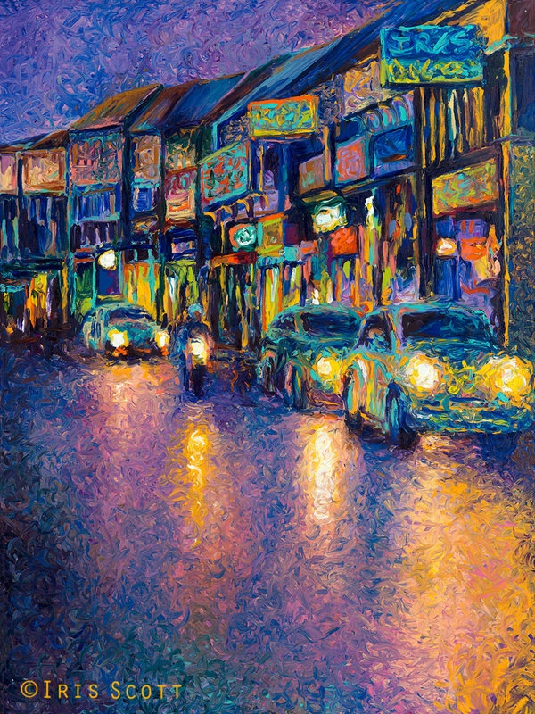 Impressionist style cityscape painting with love bugs. Iris Scott fingerpainter-interview