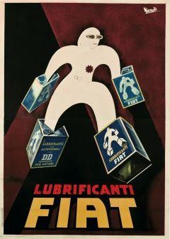 Vintage Italian Posters - Italy. Marcello Nizzoli - Lubrificanti FIAT 1930.