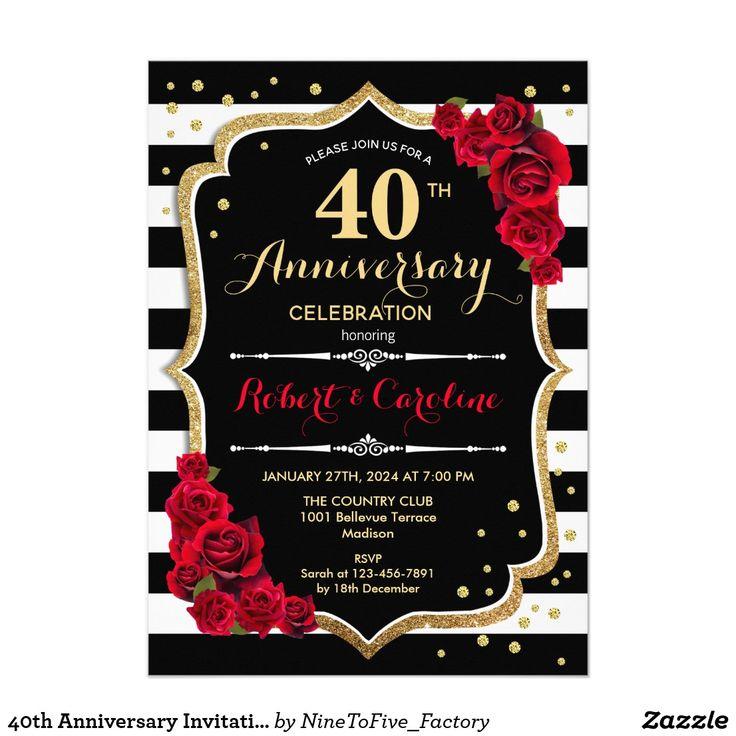 40th Anniversary Invitation Red Gold Black White