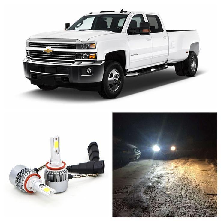 Edislight 72W 7600LM White Car Light Bulbs Low Beam LED Headlight For 2007-2016 Chevrolet Silverado 1500 2500 Headlamp 6000K