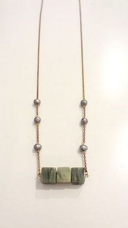 Handmade Gold chain Necklace with semi-precious stones!