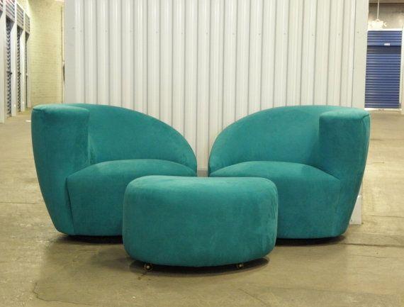 High Quality Pair Mid Century Modern Vladimir Kagan Nautilus Lounge Swivel Chairs And  Ottoman