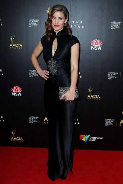 AACTAS 2013 Brooke Satchwell wearing @www.jenniferregan.com.au #blacksatin #redcarpet