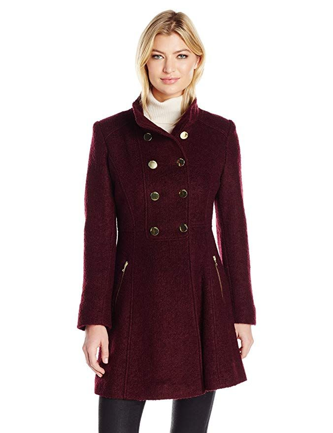 010c68a92 Guess Women s Wool Boucle Military Flared Coat GUESS women s wool ...