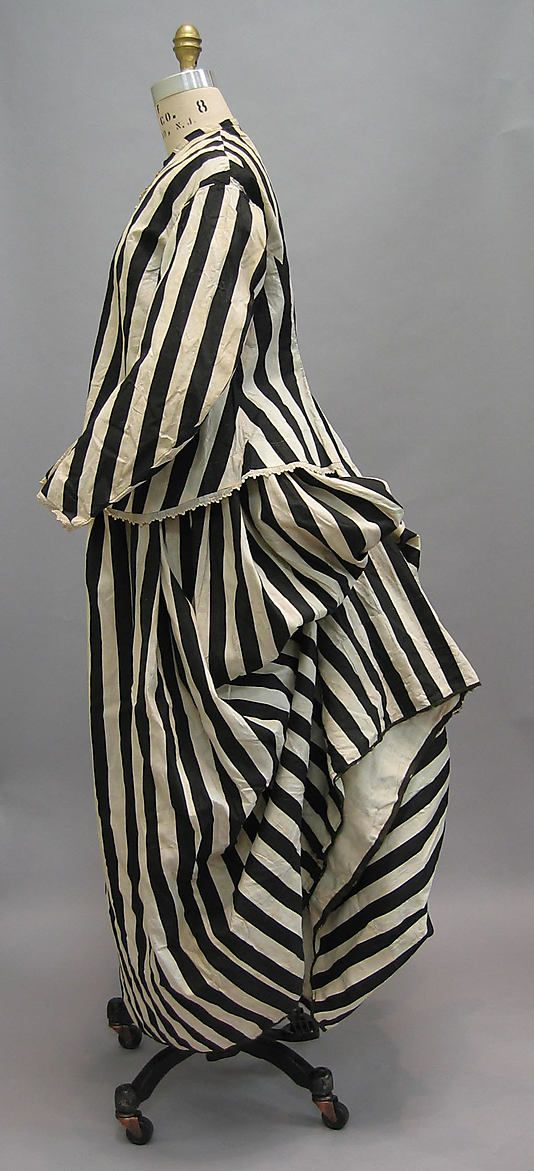 """Beachwear: late 1860's - early 1870's, French, cotton. """"Found in Bourdeaux (Provenance provided by vendor, Cora Ginsburg, LLC)"""""""