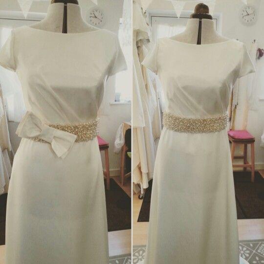 Work in progress, making a wedding dress in the studio. Ivory satin wedding dress with cap sleeves and beaded waist. #wedding dress www.rachellambdesign.co.uk