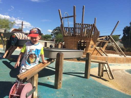 Woodbridge Riverside Park - Adventure Playground with water play feature.  Find out how far this playground is from your current location and get a map to take you there with the Kids Around Perth app available from Google Play or the App Store