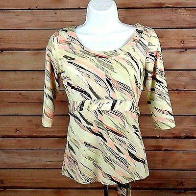 NEW YORK & COMPANY Women's XS Multicolor Stripe Shirt Top Blouse Stretch Boho