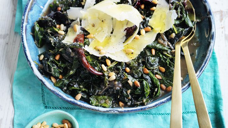 This is a great winter side dish. Cavolo nero is a cousin to kale and paired with silverbeet in this braise.