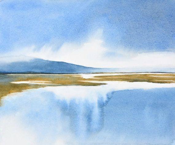 Imprimir acuarela arte Pacífico, acuarela, pintura acuarela arte paisaje de mar, impresión contemporánea, arte azul, impresión de Giclee Fine Art