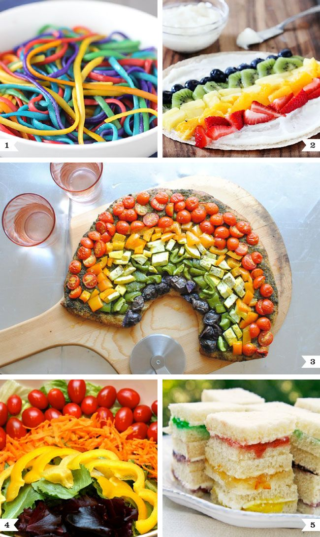 Savory rainbow recipes - lunches & dinners for a rainbow party or St. Patrick's Day!
