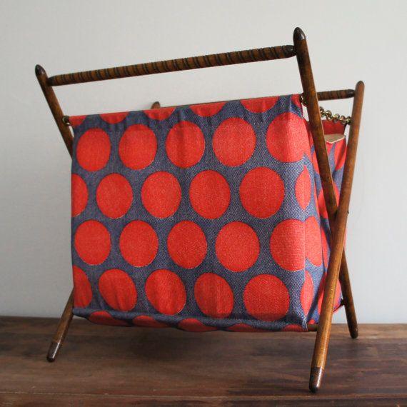 Vintage Folding Sewing / Knitting Basket with Wooden Frame