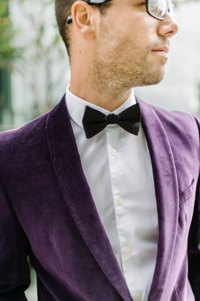 Velvet eggplant color suit: http://www.stylemepretty.com/maryland-weddings/baltimore/2015/01/23/urban-elopement-styled-shoot/ | Photography: L. Hewitt - http://landmhewitt.com/