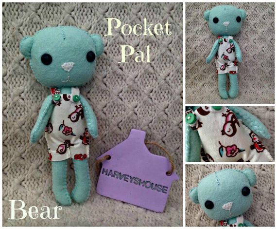 Handmade Felt Bear  Beautiful Pocket Pal by HarveyshouseCrafts