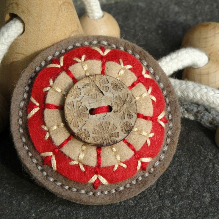 Felt + embroidery + button - ornament idea