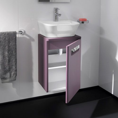 This Roca wall hung vanity unit with basin in Matt Grape gives the bathroom  an unusual