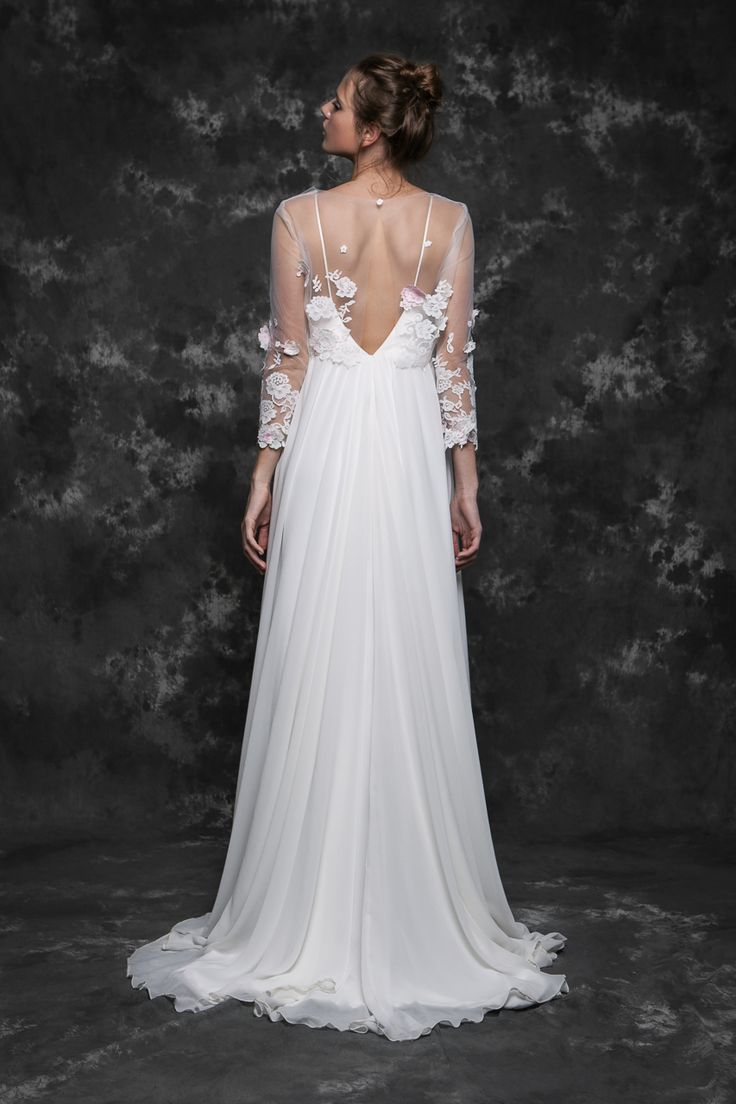 Pureza Mello Breyner Atelier - bridal dress in silk crepe and embroidered french lace #bride #modern #lace #cotton #silk #romantic #bridal #dress #designer #satin #handmade #by #measure #back #details #open #wedding #boho #pink #wedding