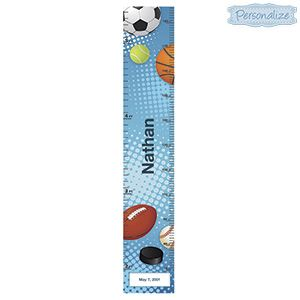 """Product # RGS122 - Keep record of a growing child's height! Brightly coloured, adhesive vinyl wall-chart looks great in any kids room, and features their name in big letters. Can also add your child's birthdate for an even more personal touch. Measures up to 5-1/2 feet! Personalization: Name, up to 12 characters; Birthdate, choose Month, Day and Year. 8""""W x 46""""H  $29.98"""