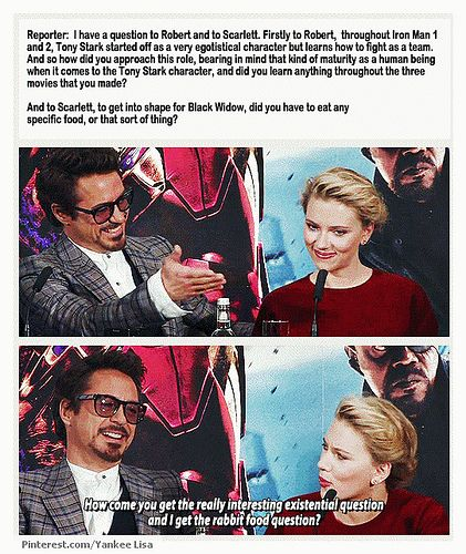 Robert Downey Jr. & Scarlett Johansson- What a lousy reporter.