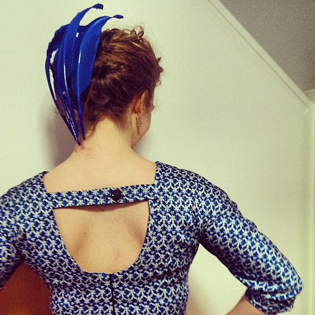 Floating blue feather headpiece by Lauren J Ritchie