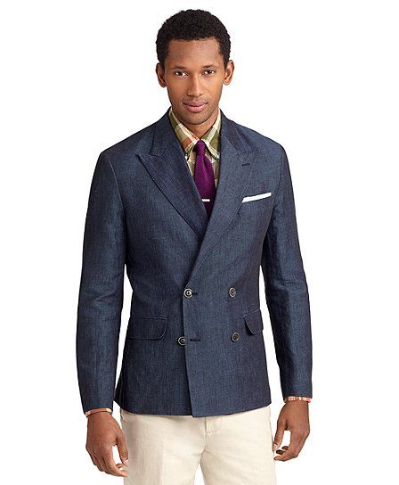 Milano Fit Double-Breasted Cotton and Linen Sport Coat.