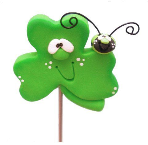Polymer Clay Silly Shamrock Cake Tester Magnet from Clayful Creations by Becky Clayful Creations by Becky - $9.00