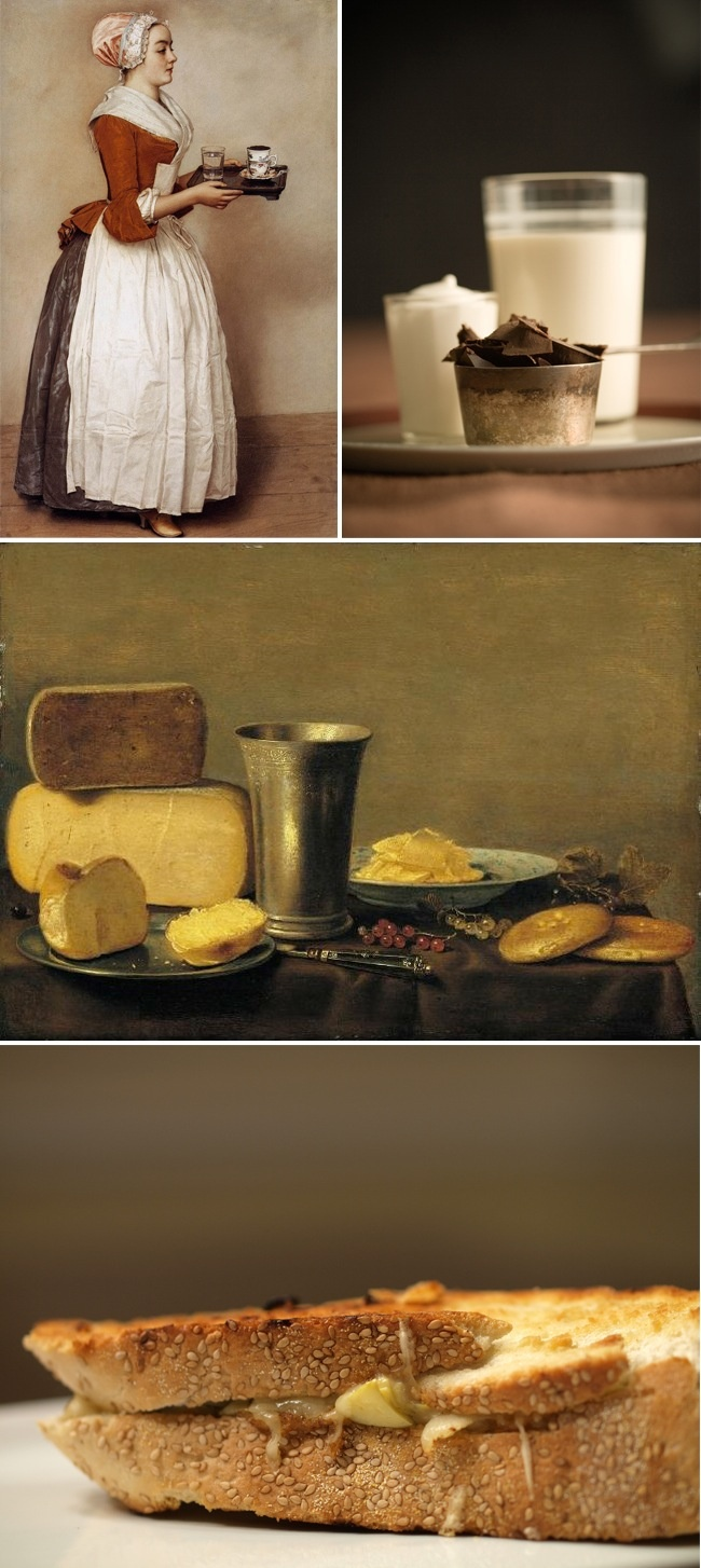 La Fille Au Chocolat (1744) by Jean-Etienne Liotard/ Hot Chocolate/ Still Life of Cheese by Floris Gerritsz van Schooten/ Swiss Cheese Melt with Artichoke Hearts