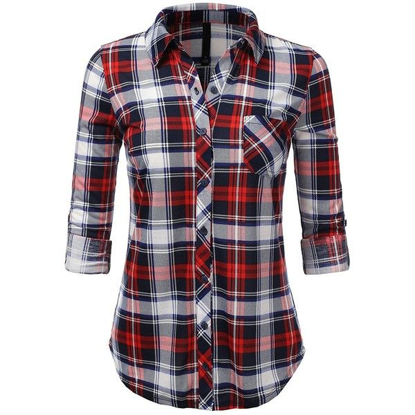 H2H Womens Casual Flannel Plaid Checker Button Down Roll Up and Long... (45 PEN) ❤ liked on Polyvore featuring tops, checked shirt, plaid button up shirts, plaid flannel shirt, checkered shirt and long sleeve tops