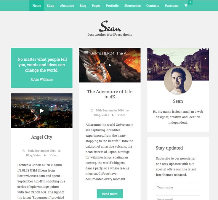 Sean free WordPress blogging theme. More info: http://curatable.net/20-free-wordpress-themes-i-would-actually-use-to-start-a-new-blog-in-2016/