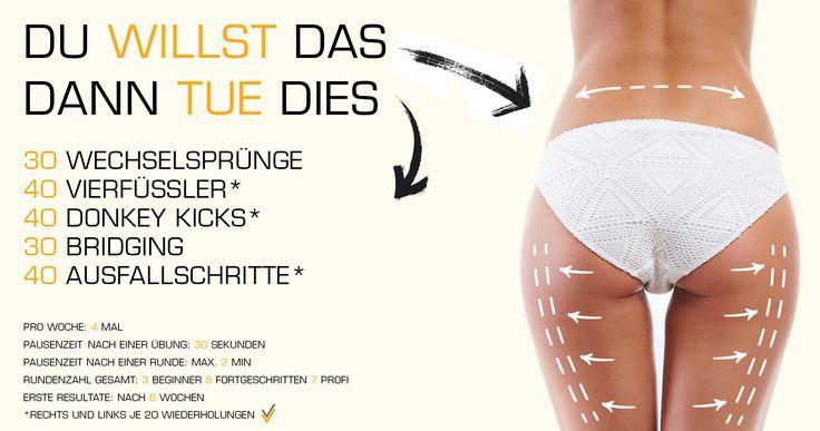 Training mit dem eigenen Körpergewicht gegen Hüftspeck, straffe Oberschenkelrückseite und runden Po. Maximale Fettverbrennung: http://www.amazon.de/gp/product/B00HFN7MQK?*Version*=1&*entries*=0