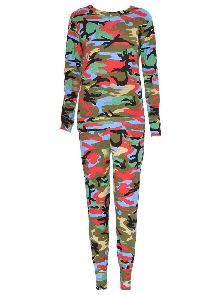 Women Multi Colour Camouflage Loungewear Two Piece Set SM-ML