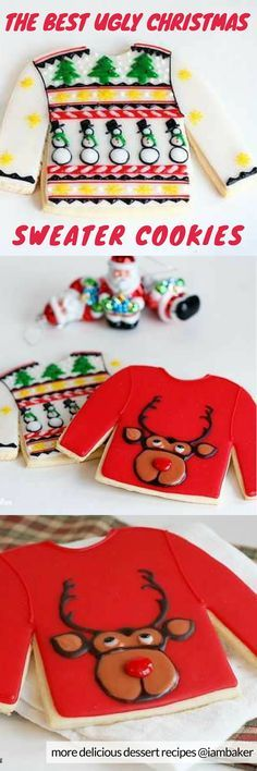 Ugly Christmas Sweater Cookies - the best cut out sugar cookie recipe ever! It's a quick and easy dessert recipe your kids will probably love! Fun to make with glazed icing rather than with royal icing! For more simple and easy dessert recipes to make, check us out at #iambaker. #cakes #desserts #sweettooth #christmascookies