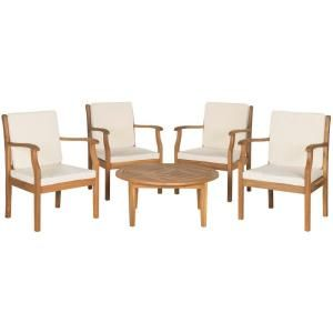 Safavieh Colfax Teak Brown 5-Piece Patio Seating Set with Beige Cushions-PAT6719A - The Home Depot
