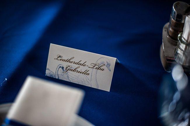 Blue Wedding Seating Card, Swan Seating Card