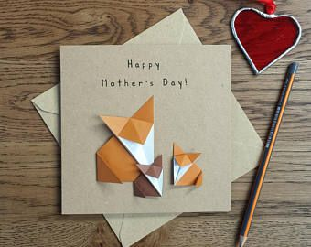 Origami Foxes Mother's Day Card With 2 Fox Cubs - Card for Mum, Mom, Mummy,  2 Styles To Choose