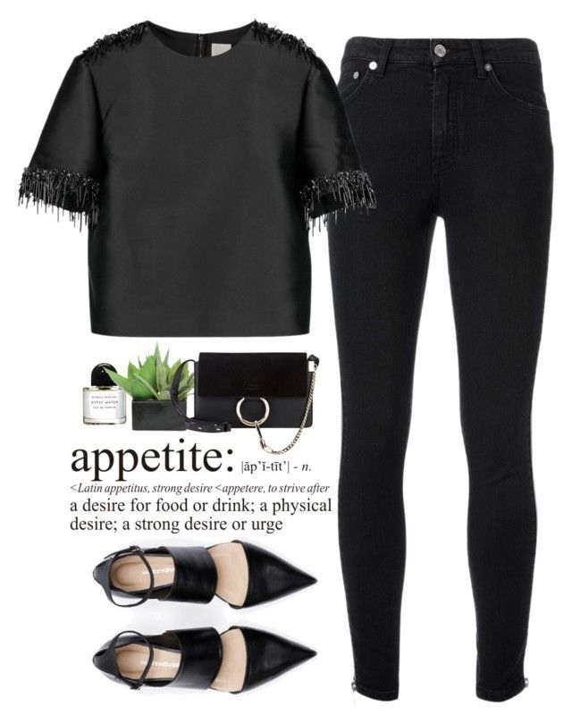 """""""- Noir Appetite -"""" by lolgenie ❤ liked on Polyvore featuring Yves Saint Laurent, Iris & Ink, Byredo, WALL, Lux-Art Silks and Chloé"""