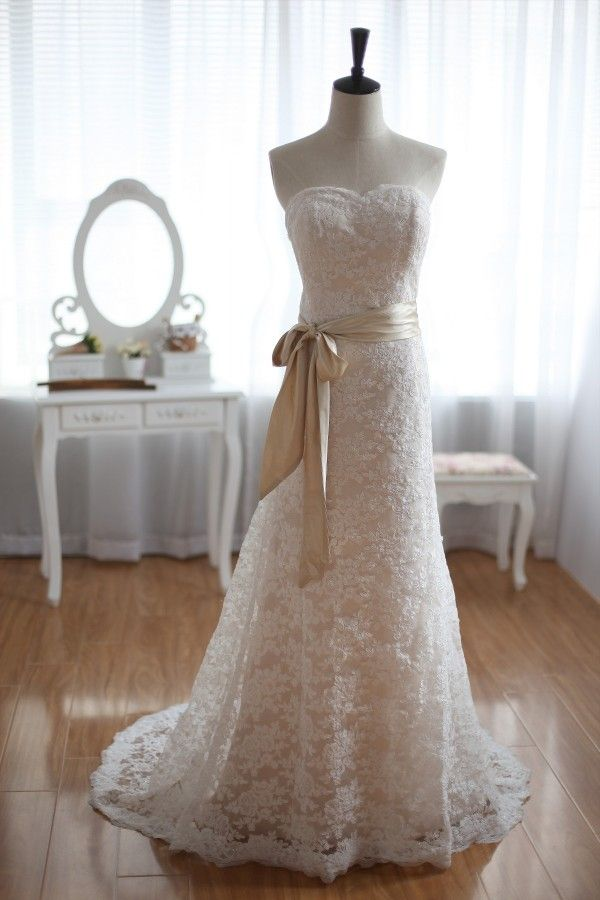 Vintage inspired french corded lace wedding dress for White and champagne wedding dress