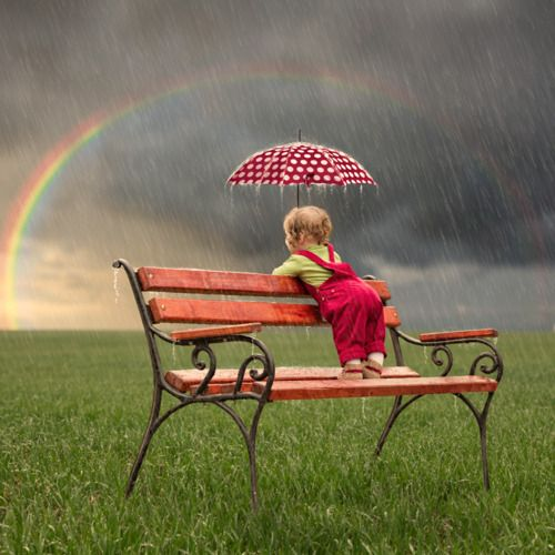 Bench in the rain with rainbow.