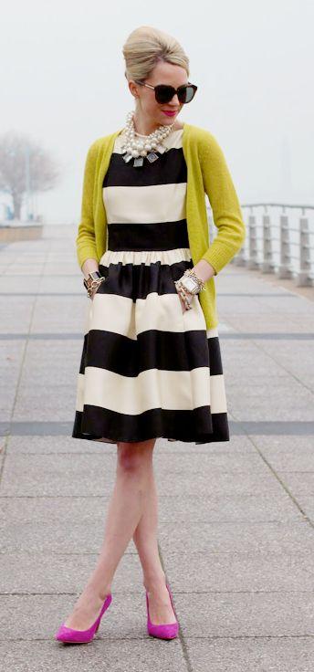 Bold stripes + fun colors - my kinda style