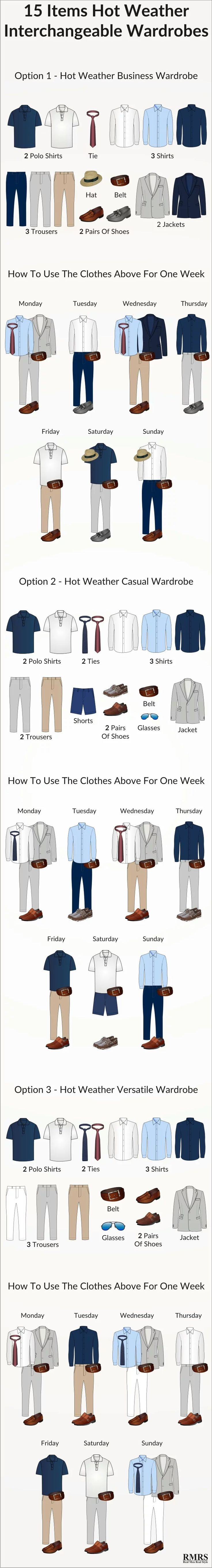 15 hot weather interchangeable items and how to use for one week. http://www.99wtf.net/men/mens-fasion/latest-mens-fashion-trends-2016/