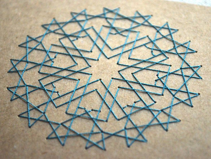 Islamic Geometric Star Design - Embroidered Card - Moroccan Pattern, Blue. $5.00, via Etsy. Blue thread on brown cardstock.